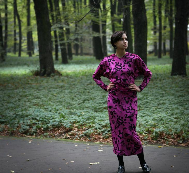 purple color batwing dress idea