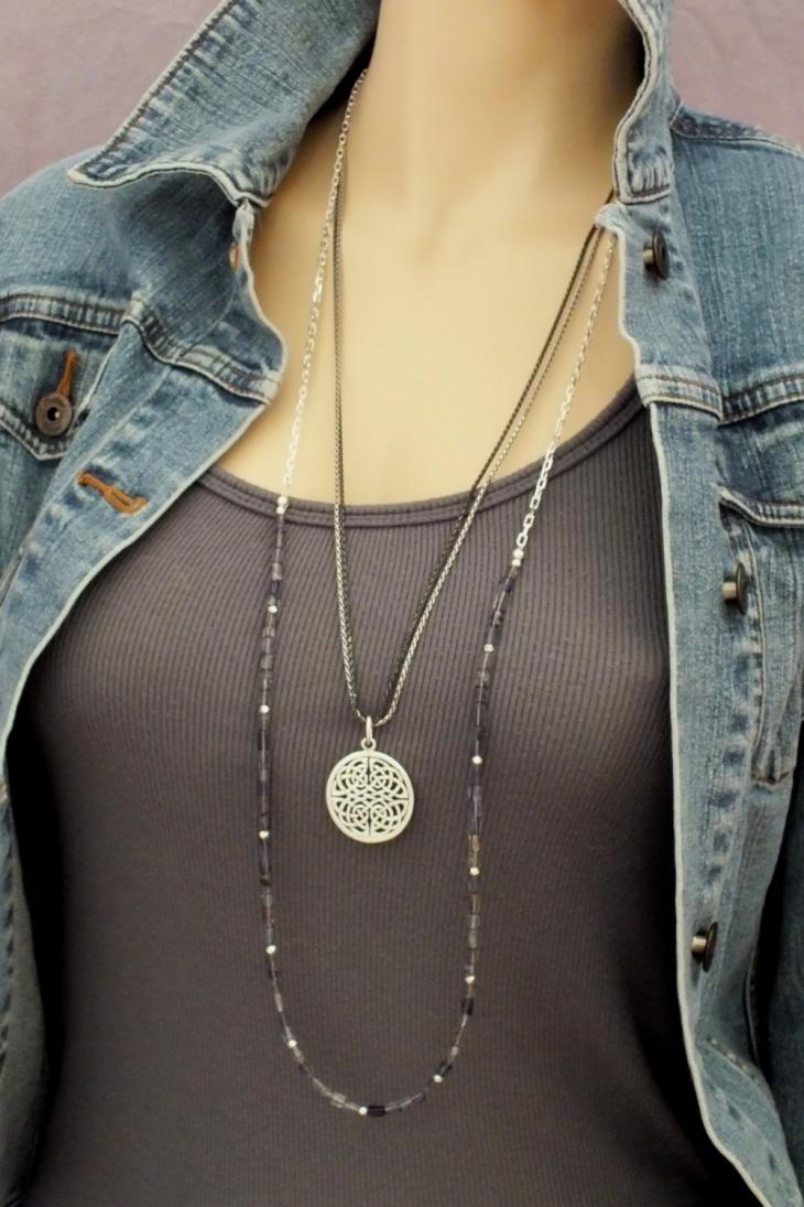 black layered necklace design