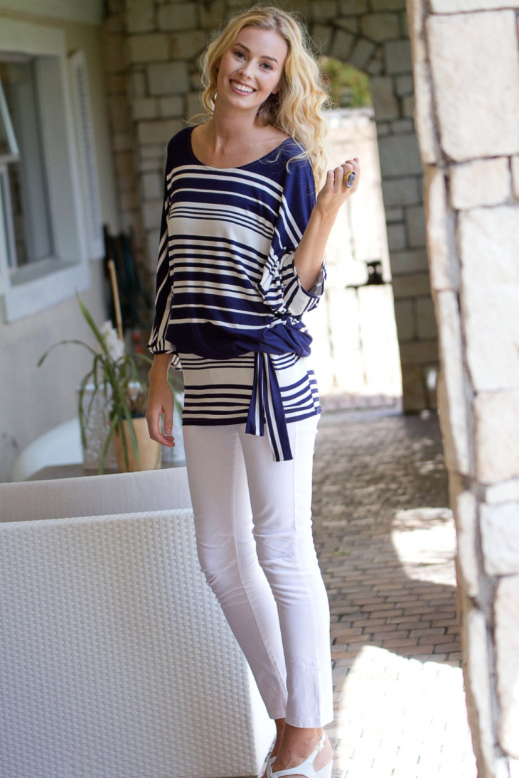 Blue and White Striped Batwing Outfit