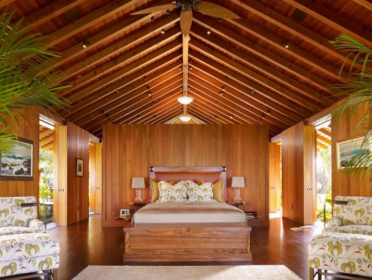 Spacious Bedroom with Tropical Interior