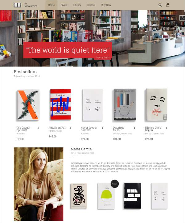 Minimalist Bookstore WordPress Template