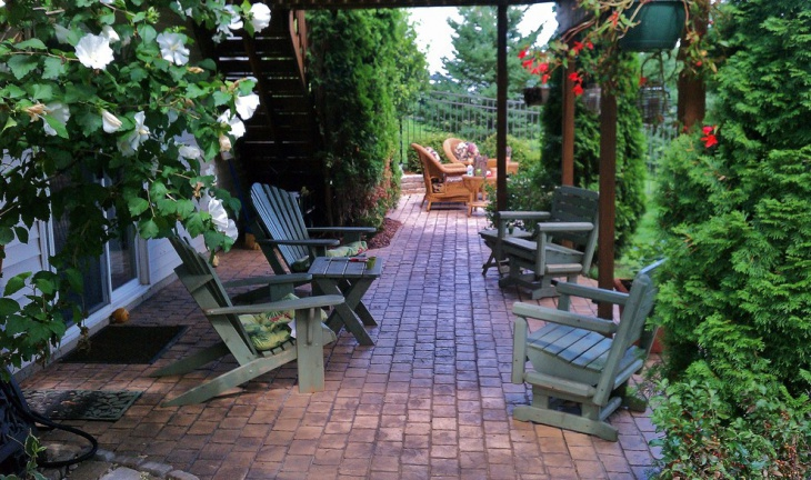 brick stamped concrete patio