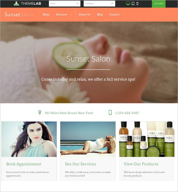 responsive mobile friendly hair salon wp template