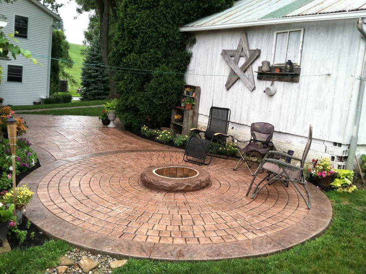 Round Stamped Stone Patio