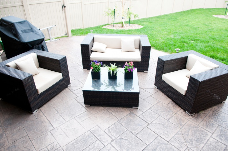 Stamped Patio with Sofa