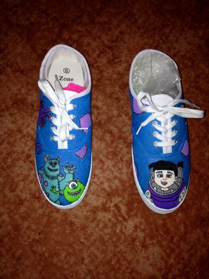 Bright Blue Cartoon Sneakers