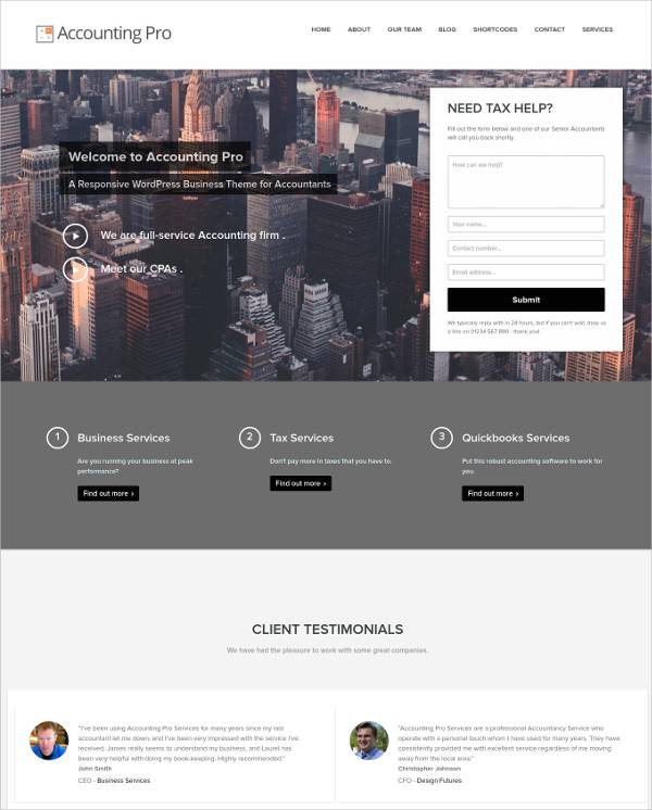 Responsive Accounting Pro WordPress Theme