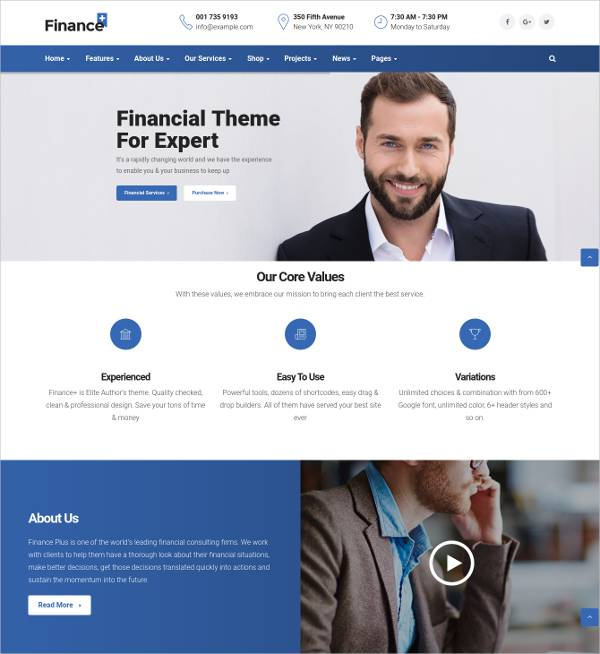 reliable finance wordpress template1
