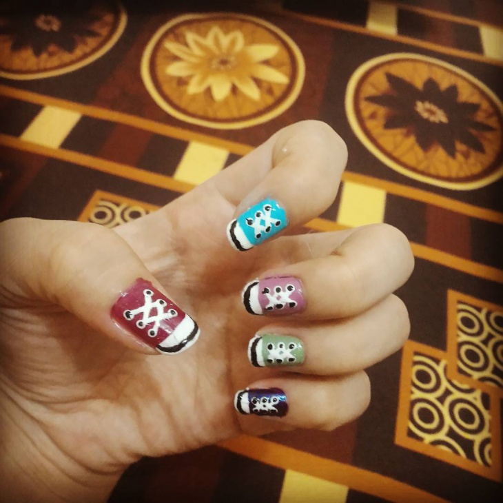 Canvas Shoe Nail Art
