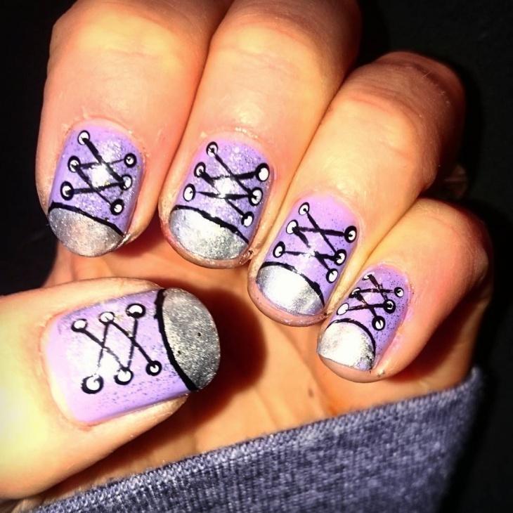glitter shoe nail design