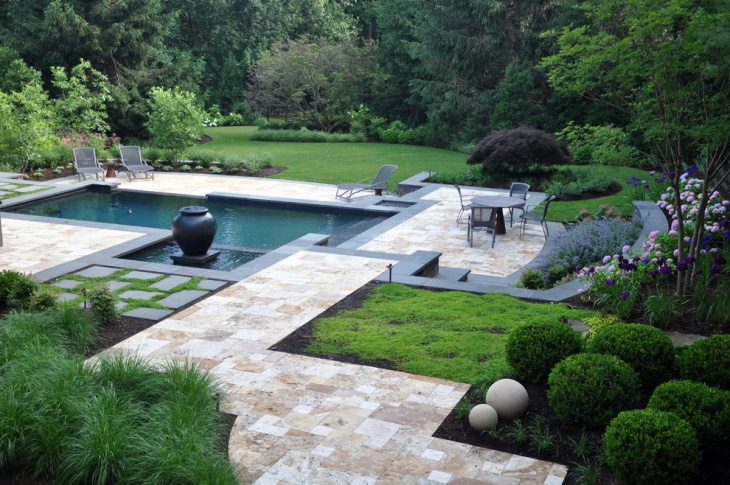 transitional landscpae with pool
