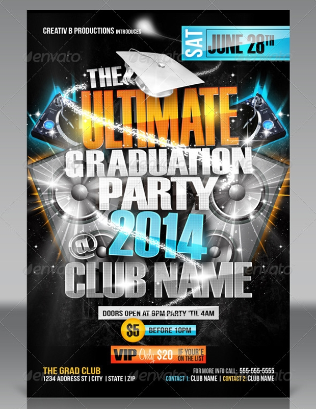 Graduation Party Flyer Templates  Printable Psd Ai Vector Eps