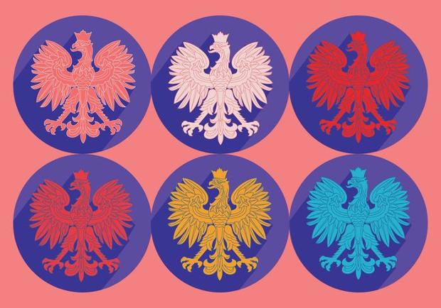 polish eagles vector set