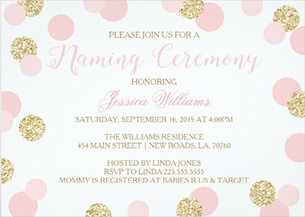pink and gold glitter naming ceremony invitation