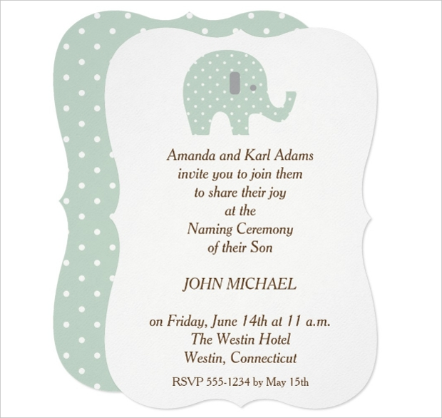 polkadot elephant baby naming ceremony invitation