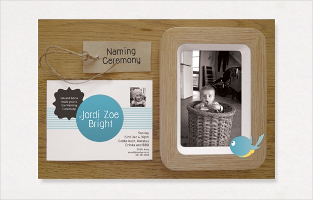 vintage naming ceremony invitation design