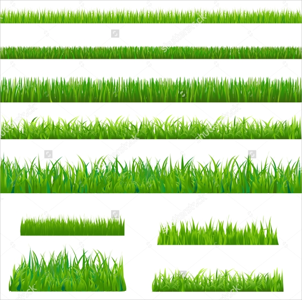 bright grass vector set