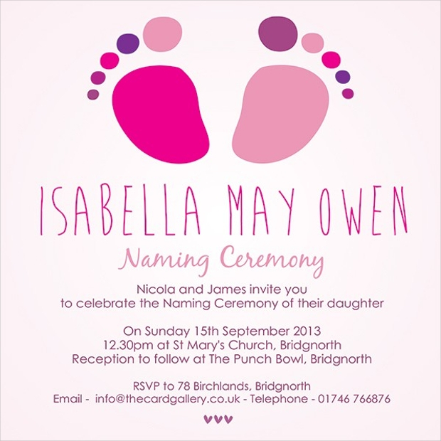 naming cermony invitation pink feet design