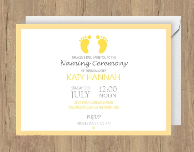 printable naming day invitation design