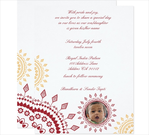 indian baby naming ceremony invitation