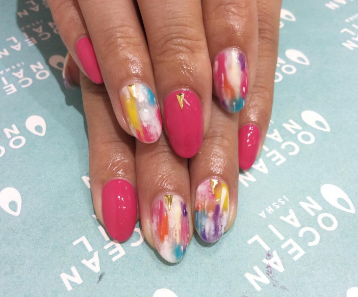 Colorful Ocean Nail Art