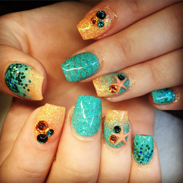 Ocean Starfish Nail Art