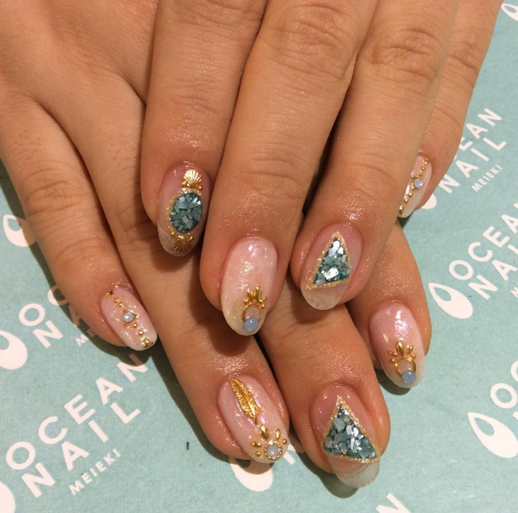 Unique Ocean Nail Art Idea