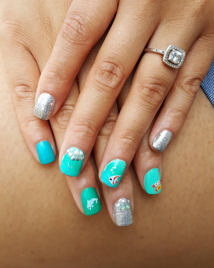 Silver Glitter Ocean Nails