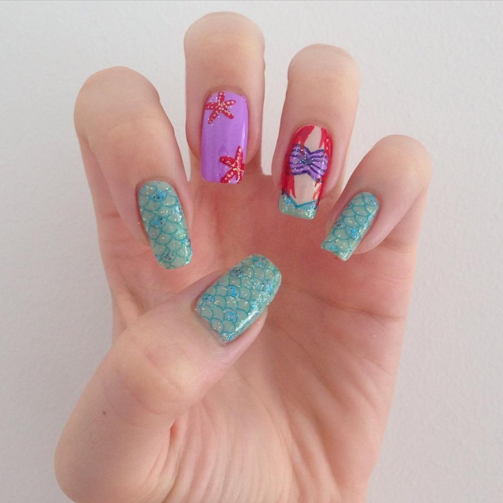 Mermaid Nail Art for Long Nails