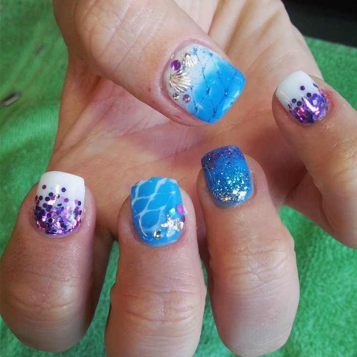 Blue Color Beach Nail Art