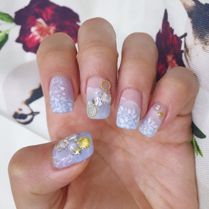 Light Wedding Nail Design Idea