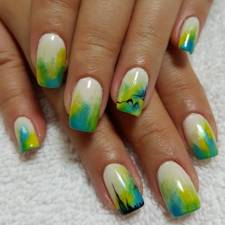 Pretty Ocean 3D Nails Idea