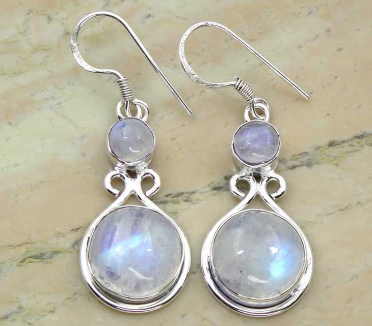 Genuine Rainbow Moonstone Earrings