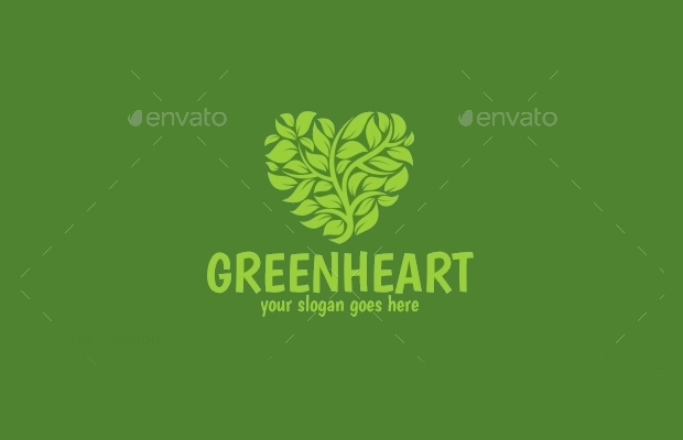 green heart logo template