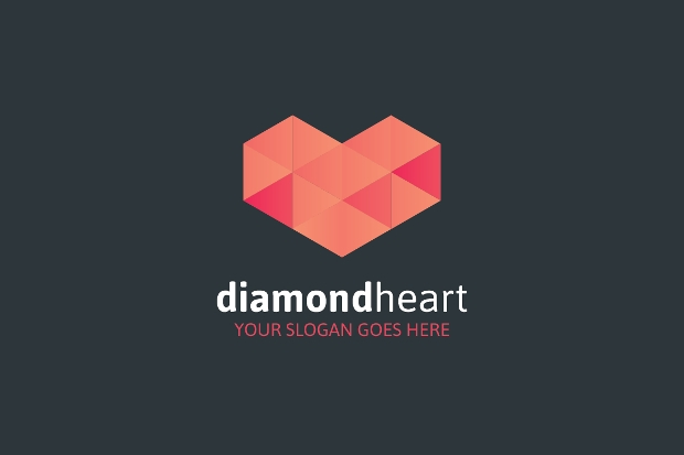 diamond heart logo design