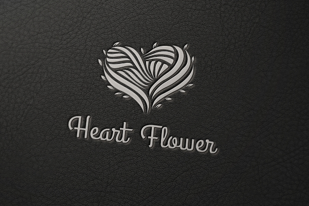 heart flower logo template