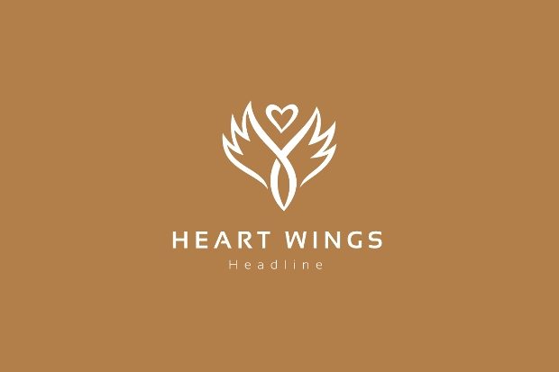 flat heart wings logo template