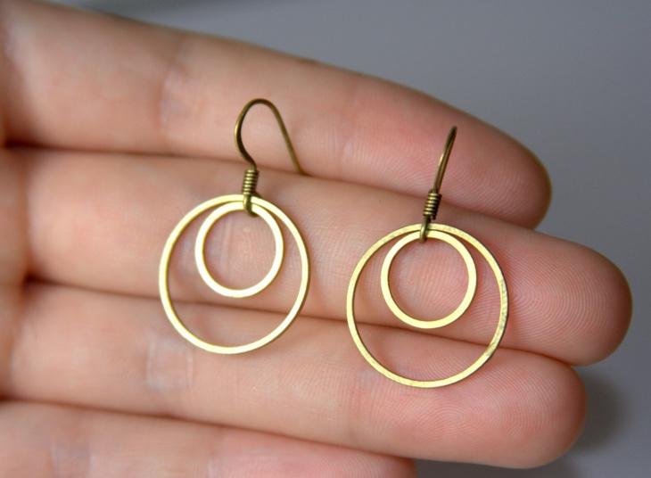 Small Gold Brass Earrings