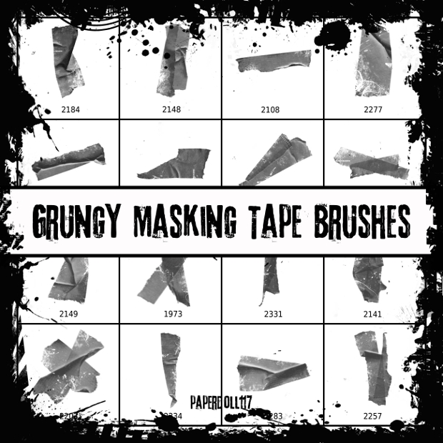 grungy masking tape brushes