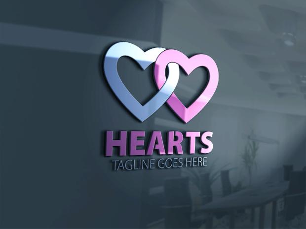 lovely hearts logo design