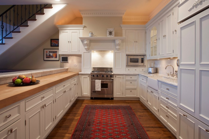 traditional kitchen with antique cabinets
