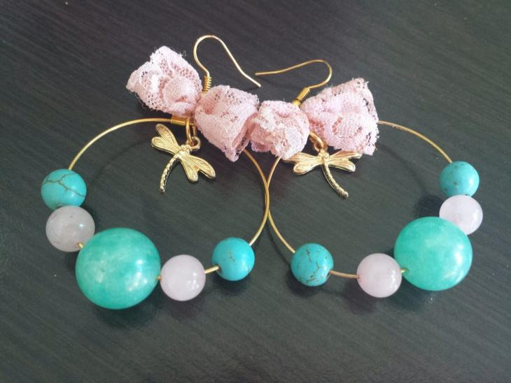 Gold Tone Hoop Pink Lace Earrings