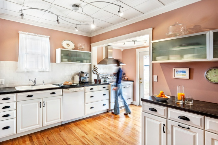 Unique Kitchen with Pink Wall