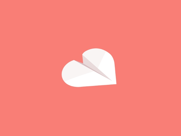 paper heart logo design