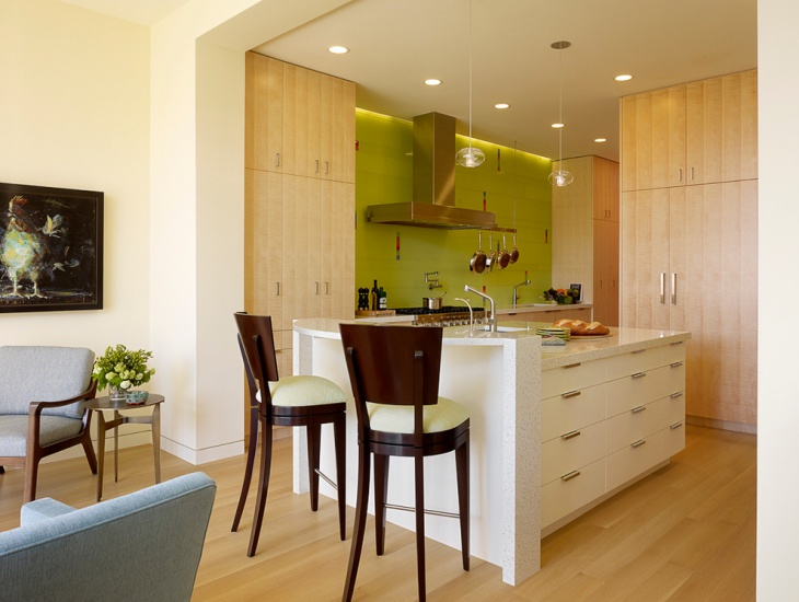 Green and White Kitchen Design