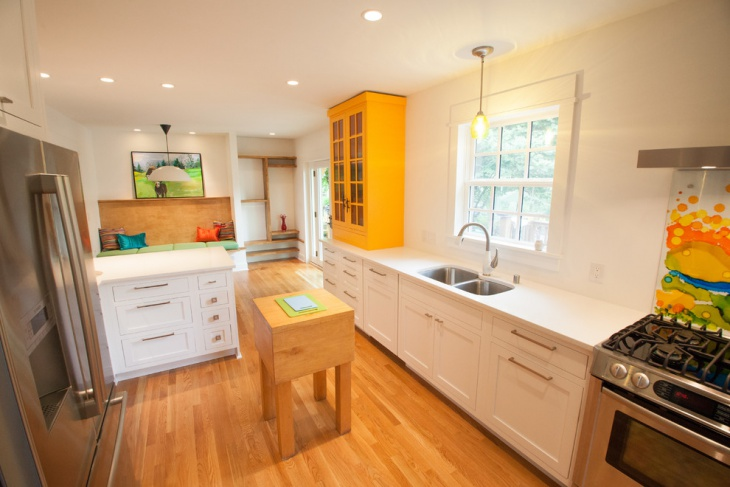 yellow and white cabinets for kitchen