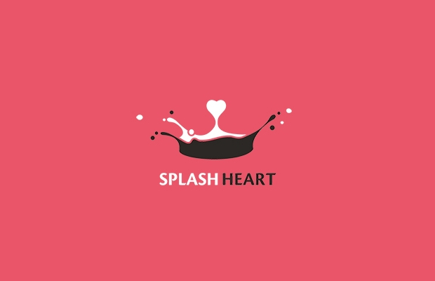 splash heart logo design
