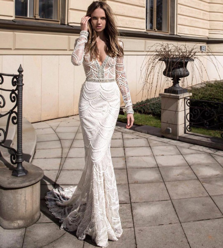 mermaid gown with sleeves