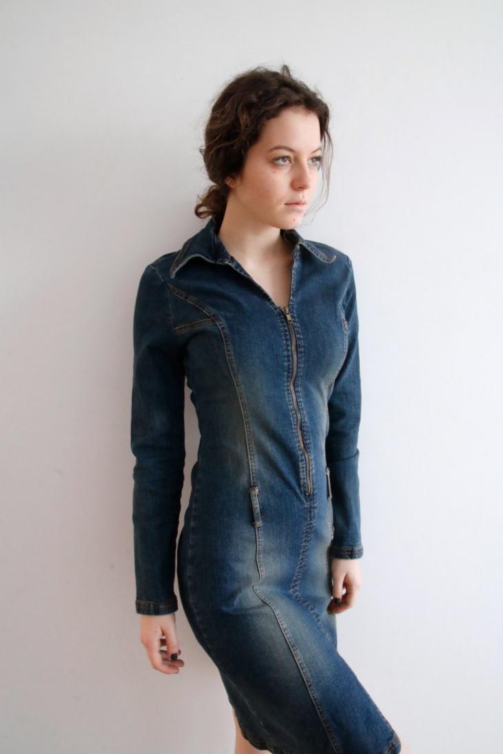 denim zipper bodycon dress