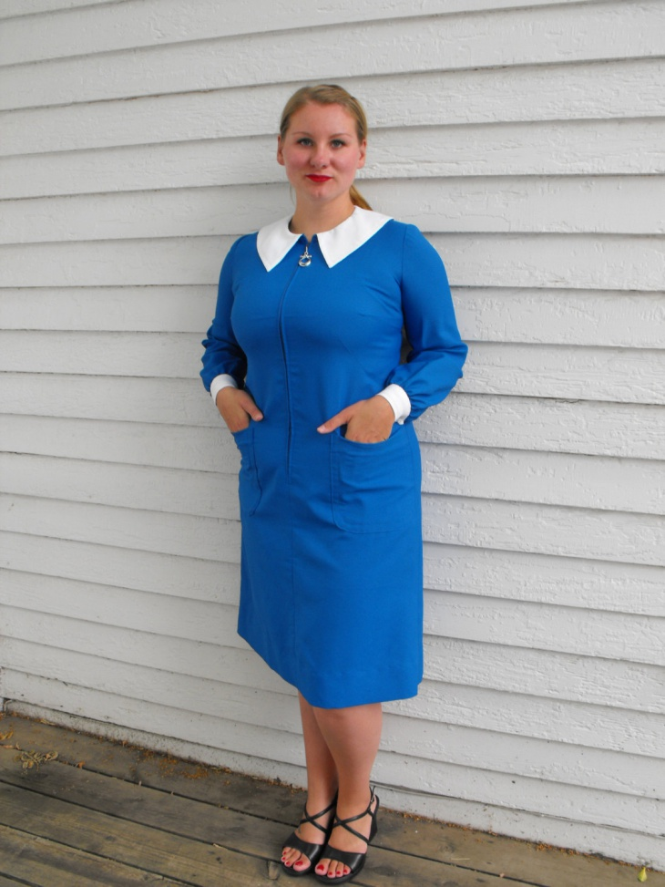 Blue Zipper Outfit with White Collar
